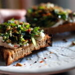 Thumbnail image for Asparagus Toasts with Pistachios and Mint